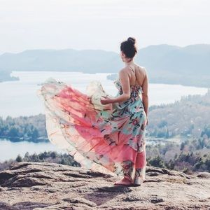 Floral Layered Ruffle Top Maxi Dress